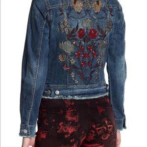 Nine West embroidered Jean jacket with fringe S